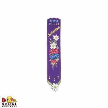 """Signet suisse brodé """"fleurs"""" violet"""