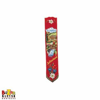 "Swiss embroidered bookmark ""chalet"" red"