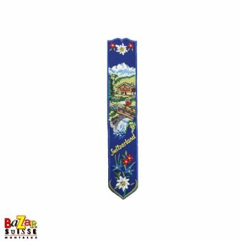 "Swiss embroidered bookmark ""chalet"" blue"