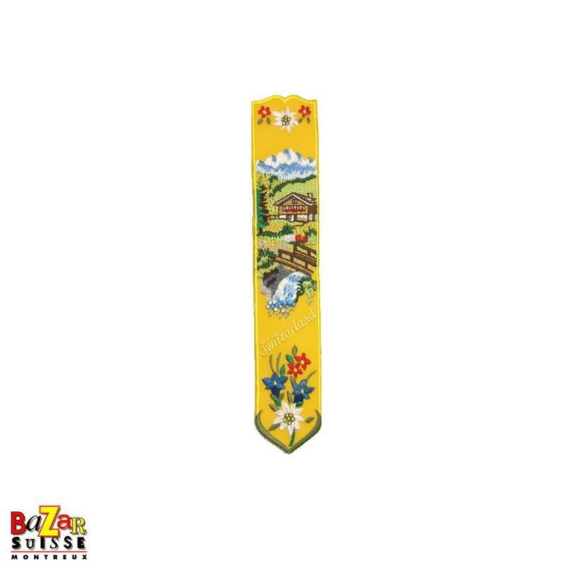 """Swiss embroidered bookmark """"chalet"""" yellow"""