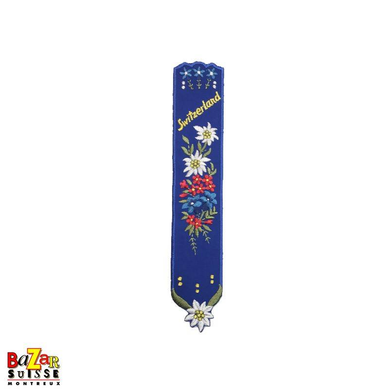 """Swiss embroidered bookmark """"flowers"""" blue"""