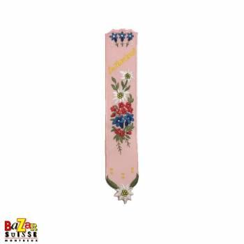 """Signet suisse brodé """"fleurs"""" rose"""