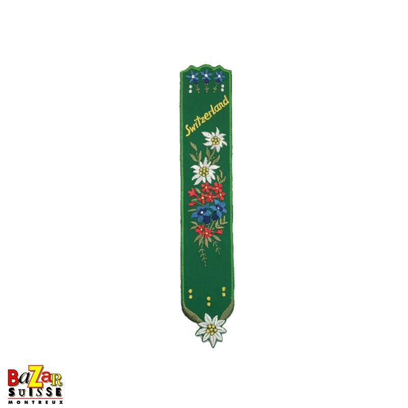 """Swiss embroidered bookmark """"flowers"""" green"""