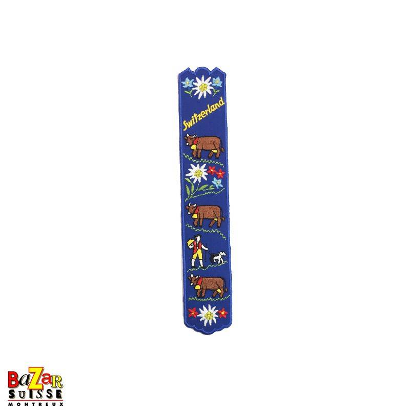 """Swiss embroidered bookmark """"cows"""" blue"""