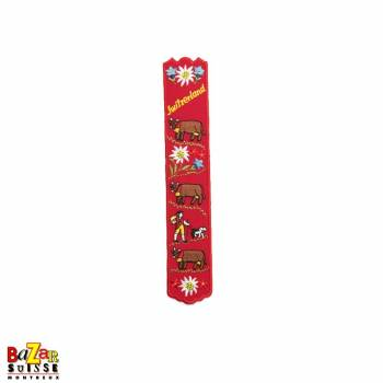"Swiss embroidered bookmark ""cows"" red"