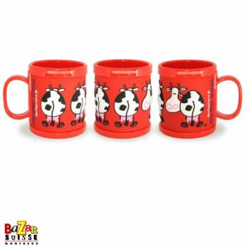 Plastic mug Mumu Cow, red