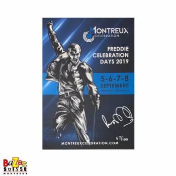 Original Montreux Celebration poster signed by Peter Freestone