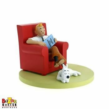Figurine Tintin fauteuil rouge