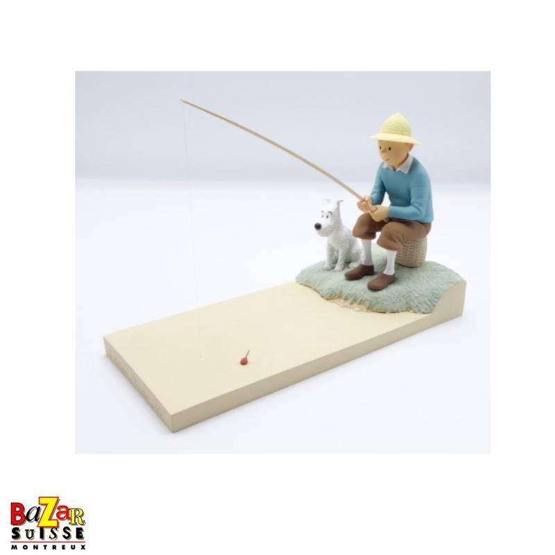Tintin is fishing figurine