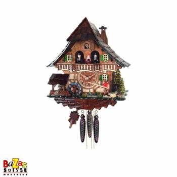 Quartz cuckoo-clock - fisherman/water mill/dancers
