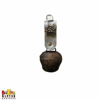 Old Tyrolian bell with fur & metal Edelweiss