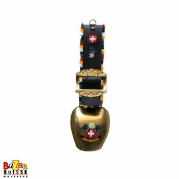 Cloche dorée fleurs peintes à la main courroie cuir & croix CH