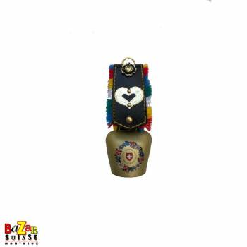 Bell with leather imitation strap and metal heart with flowers motif