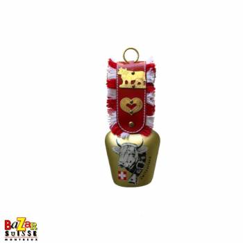 Bell with leather imitation strap and metal heart with cow motif