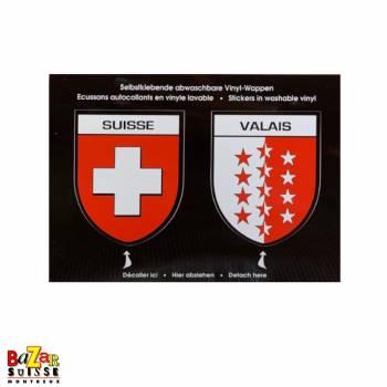 Autocollants écussons Suisse et canton du Valais