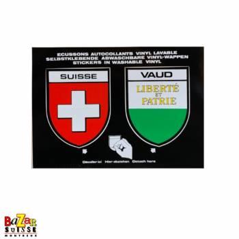 Autocollants écussons Suisse et canton de Vaud