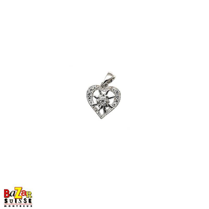 Heart pendant with small Edelweiss