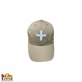 Casquette beige croix Suisse