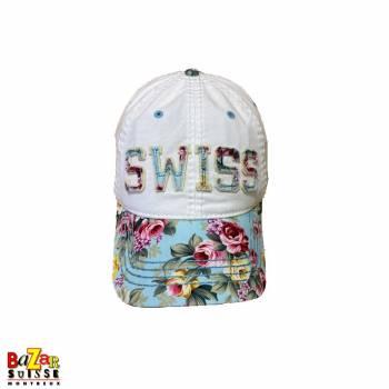 White Switzerland flowers cap