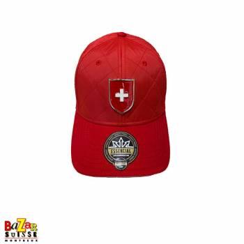 Red metal badge cap