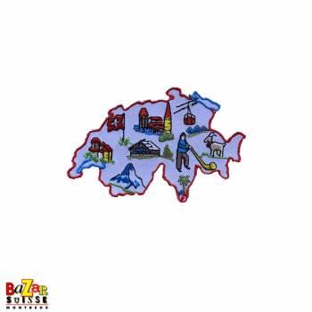 Aimant décoratif carte Suisse brodée