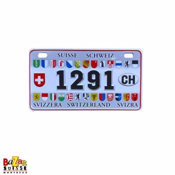 Decorative fridge magnet - license plate - 1291/Swiss cantons