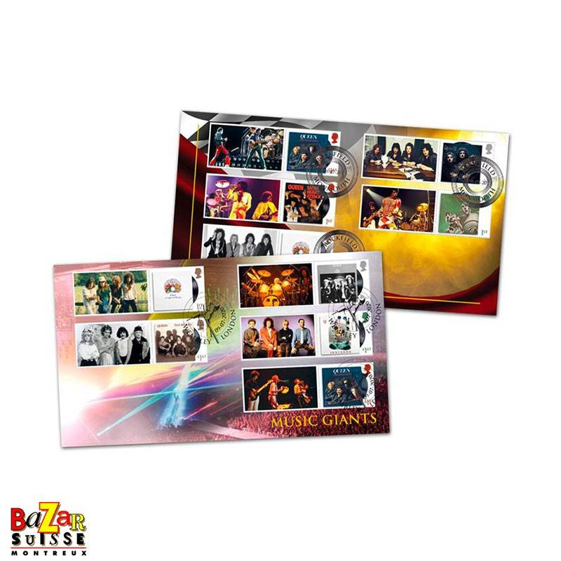 Stamps - Queen Pair of Album Cover Collectors Sheet Covers