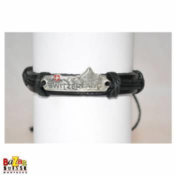 """Leather bracelet with """"Switzerland"""" plaque"""