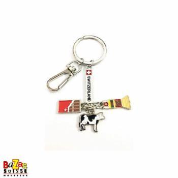 """Porte-clés plaquette """"Switzerland"""" avec pendentifs chocolat/cloche/vache"""