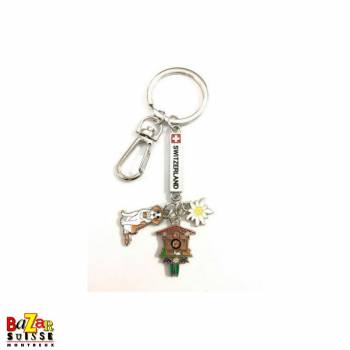 "Porte-clés plaquette ""Switzerland"" avec pendentifs st-bernard/horloge/edelweiss"