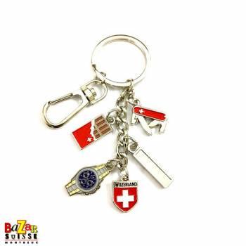 Porte-clés chaîne avec pendentifs chocolat/montre/couteau/écusson suisse