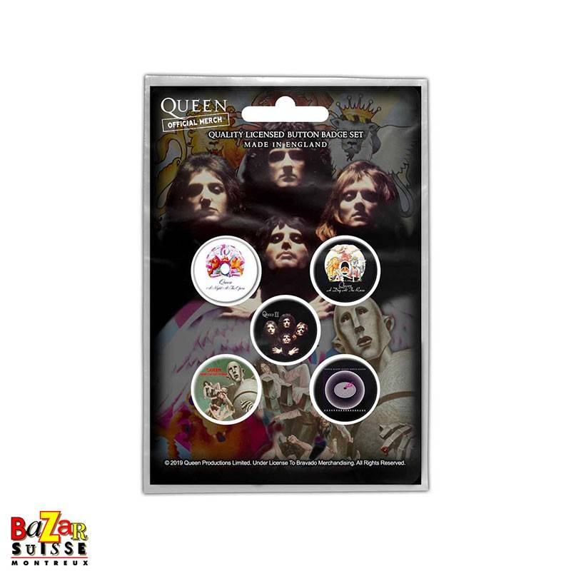 Set of 5 Queen button badges - Early Albums