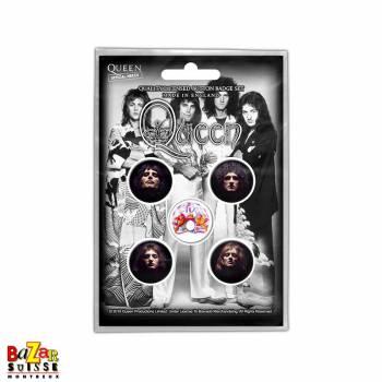 Set of 5 Queen button badges - Faces