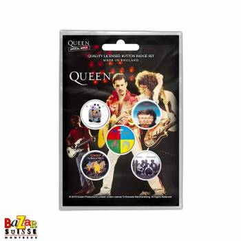 Set of 5 Queen button badges - Later Albums