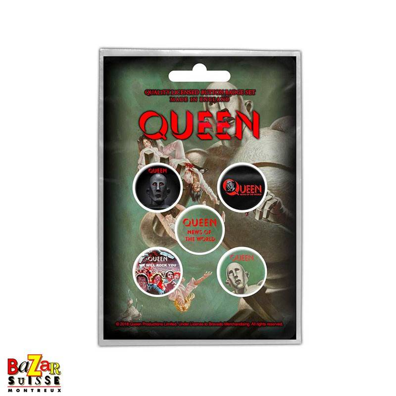 Set of 5 Queen button badges - News of the World