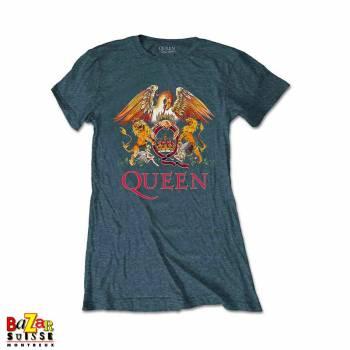 T-shirt femme Queen Crest gris