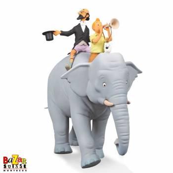 Tintin, Milou et Philémon sur l'éléphant