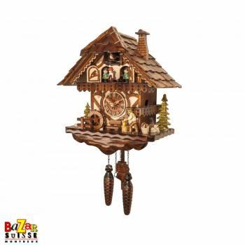 Quartz cuckoo-clock - wood cutter/water mill/dancers