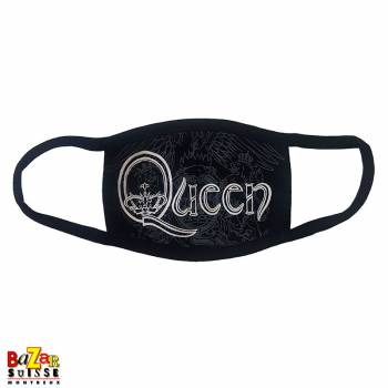 Queen mask white retro logo